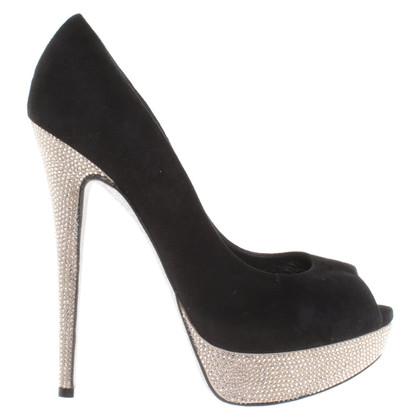 René Caovilla Peep-toes with gemstones