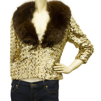 Moschino Sequin jacket with fur collar