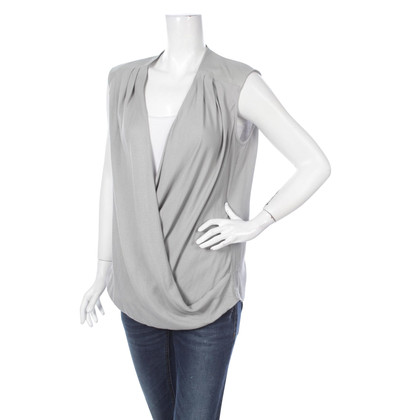 Helmut Lang Grey viscose, wool and leather top