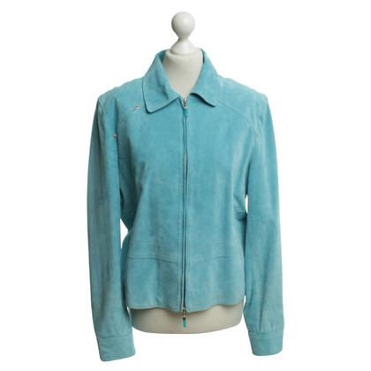 Arma Wild leather jacket in turquoise