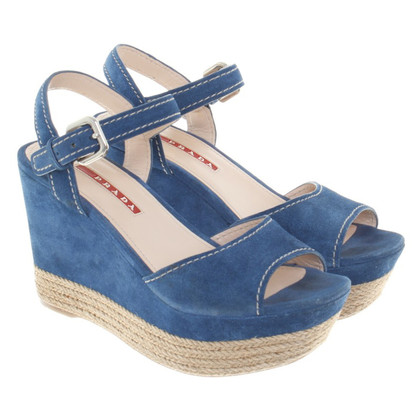 Prada Wedges of suede in blue