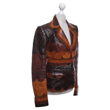 Roberto Cavalli Leather jacket with pattern