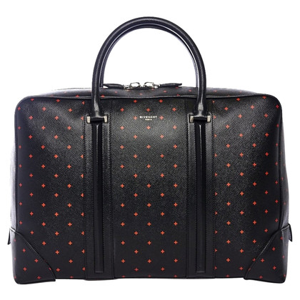 Givenchy Cross-Print Black Leather Briefcase