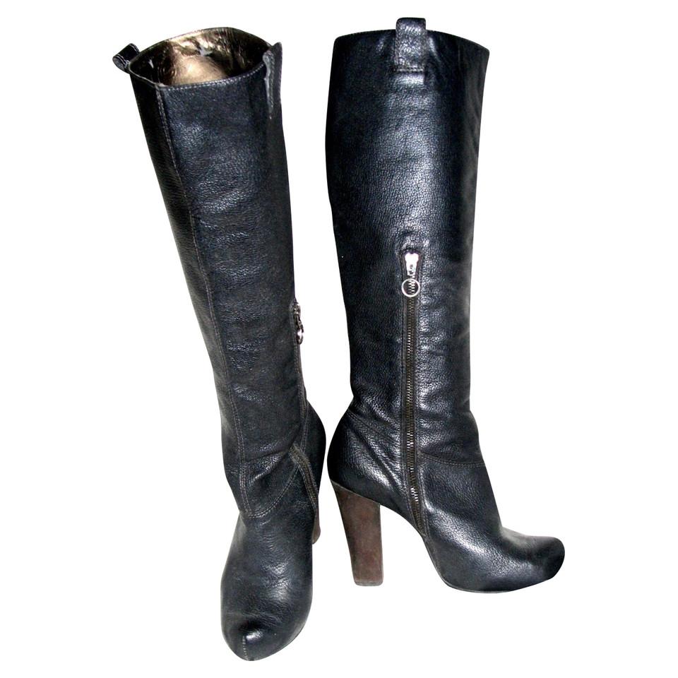 Zwarte Leren Schoudertassen : Dkny zwarte leren laarzen koop tweedehands