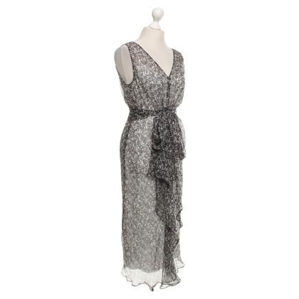 Max Mara zijden jurk in zwart / Cream