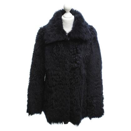Patrizia Pepe Lambskin jas in donkerblauw