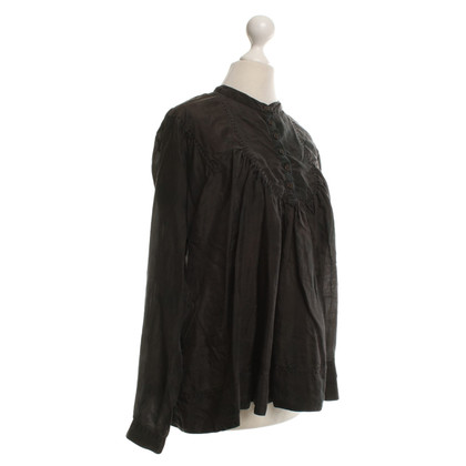 All Saints Zijden blouse in donkerbruin