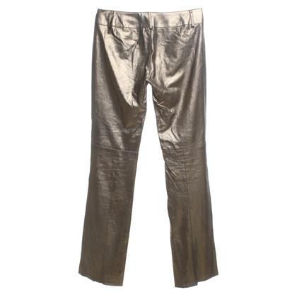 Plein Sud pantaloni di pelle lucide in oliva