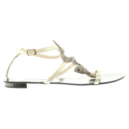 Roberto Cavalli Gold colored sandal with application