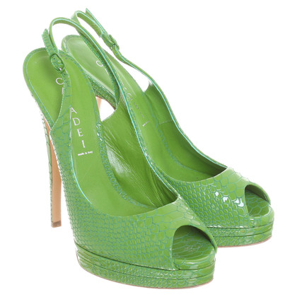 Casadei Peep-toes with reptile embossing in frog green