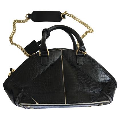 Reiss Schwarze Lederhandtasche