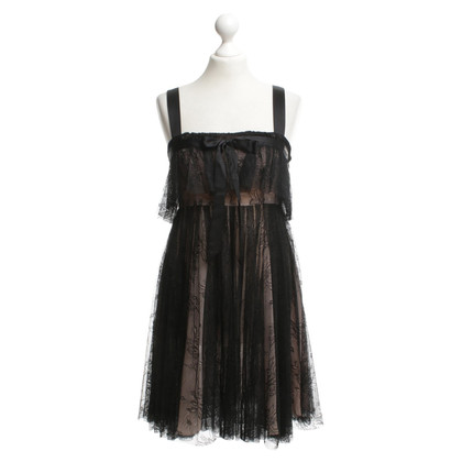John Galliano Lace dress in black / nude