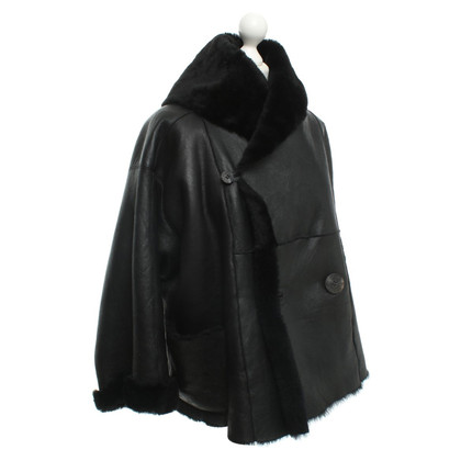 Issey Miyake Leather jacket in black