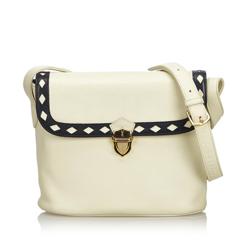 Yves Saint Laurent Shoulder bag Leather in White - Second Hand Yves ... f3b2623b7aef5