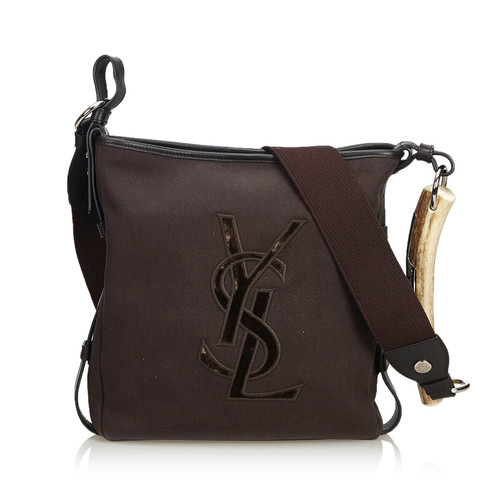 Yves Saint Laurent Shoulder bag Canvas in Brown - Second Hand Yves ... dcb6bd4e4bc66