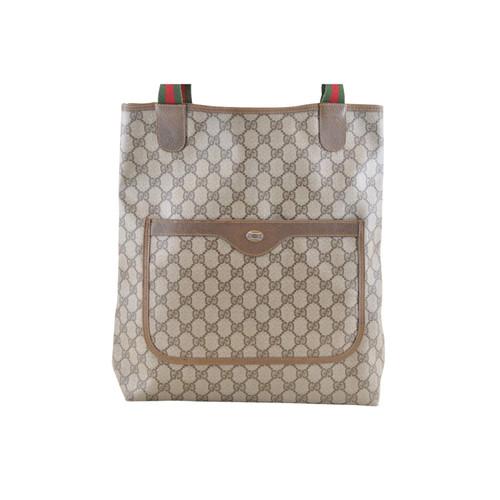 a96f5e4e6aa Gucci Sherry Line GG Tote Bag Canvas in Brown - Second Hand Gucci ...