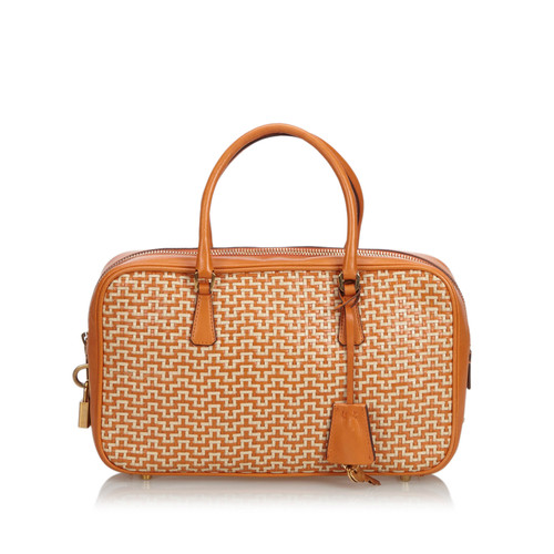 8920ceda02a0 Prada Handbag Leather in Orange - Second Hand Prada Handbag Leather ...