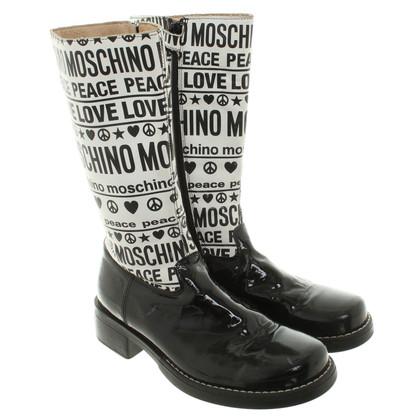 Moschino Stiefel mit andersfarbigem Schaft