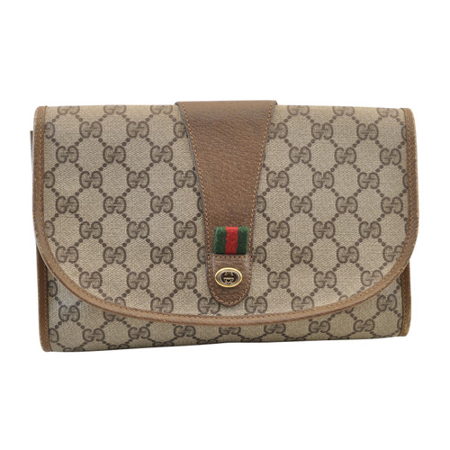 fbf895eea Gucci Pochette in Tela in Marrone - Second hand Gucci Pochette in ...