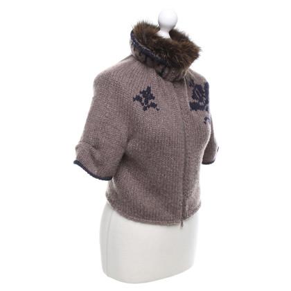 Brunello Cucinelli giacca in cashmere con collo in pelliccia