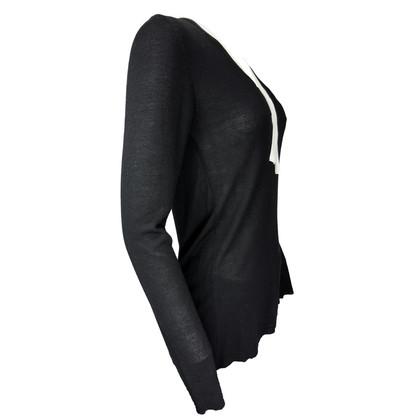 Pierre Balmain Jersey schwarz mit weißen Bändern