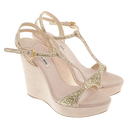 Miu Miu Wedges in Nude