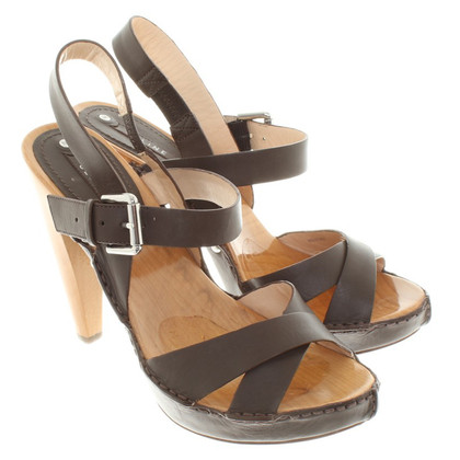Céline Leather / wood sandals