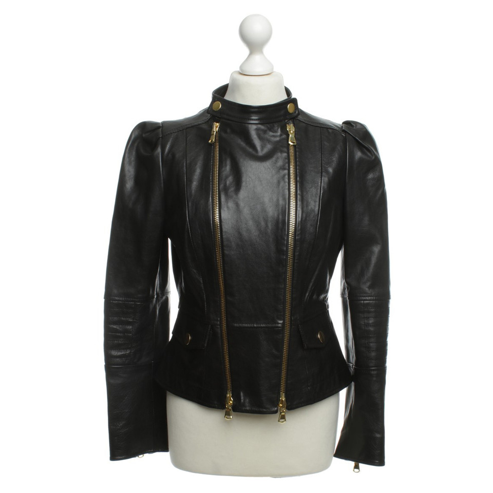 Moschino Cheap and Chic Leather jacket in black - Buy Second hand ...