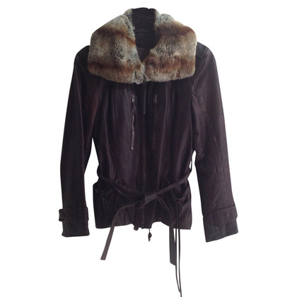 Marc Cain Leather jacket with fur trim