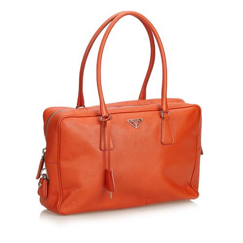 ddab0688a4a72 Prada Handtasche aus Leder in Orange - Second Hand Prada Handtasche ...