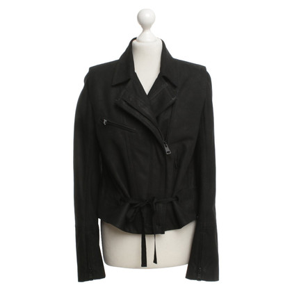 Ann Demeulemeester Giacca in pelle in Black