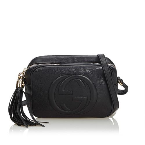 05334451b3d6 Gucci Soho disco bag in black leather - Second Hand Gucci Soho disco ...