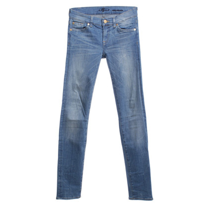 7 For All Mankind Stonewashed-Jeans in Blau