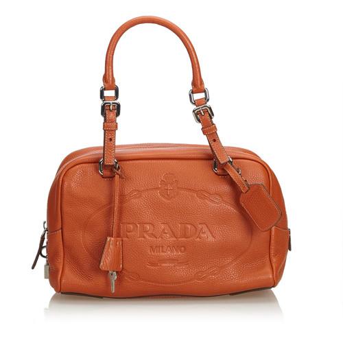 158aeb5a5e27 Prada Handbag Leather in Brown - Second Hand Prada Handbag Leather ...