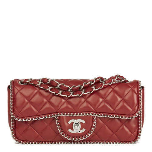 99e2c7665efc Chanel East West Flap Bag leather in red - Second Hand Chanel East ...