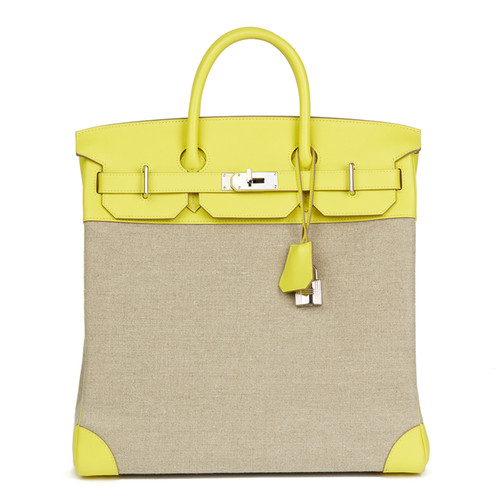 d2cba386e248 Hermès HAC Birkin Bag 40 leather in yellow - Second Hand Hermès HAC ...