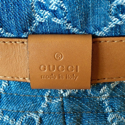 Gucci Hoed in denim met Guccissima