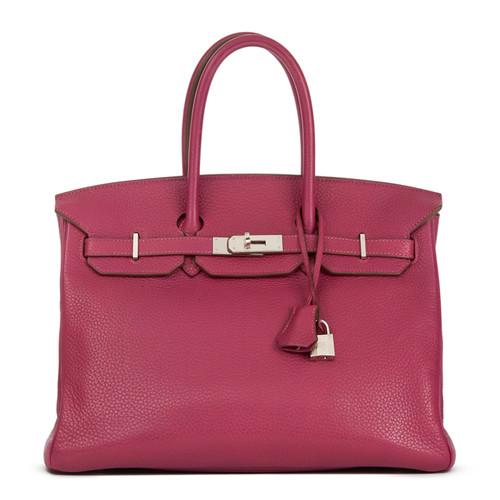 57204369736b Hermès Birkin Bag 35 leather in pink   pink - Second Hand Hermès ...