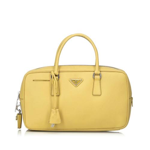 2db84e44648499 Prada Bauletto made of leather in yellow - Second Hand Prada ...