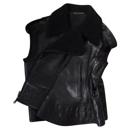 Yohji Yamamoto Leather vest with lambs wool collar