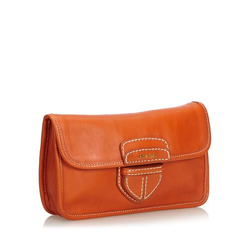 728786ea0638 Prada Clutch Bag Leather in Orange - Second Hand Prada Clutch Bag ...
