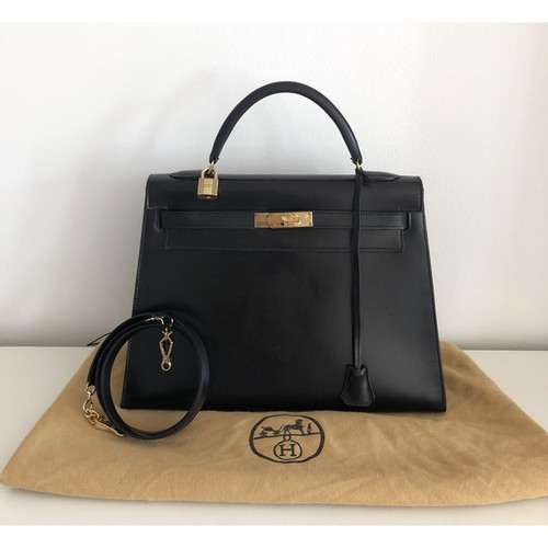 1bc9d70c99 Hermès Kelly Bag 32 Leather in Black - Second Hand Hermès Kelly Bag ...
