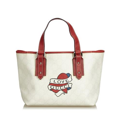 758a192867f Gucci Tote bag Canvas in White - Second Hand Gucci Tote bag Canvas ...