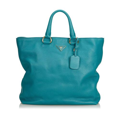 15dbb2916708 Prada Shoulder bag Leather in Blue - Second Hand Prada Shoulder bag ...