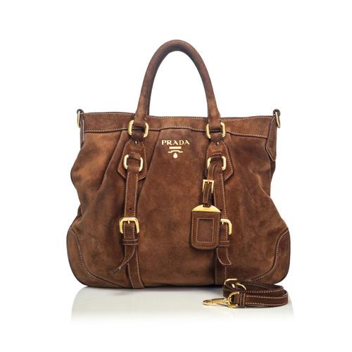 9dc5da2b7a59 Prada Shoulder bag Suede in Brown - Second Hand Prada Shoulder bag ...
