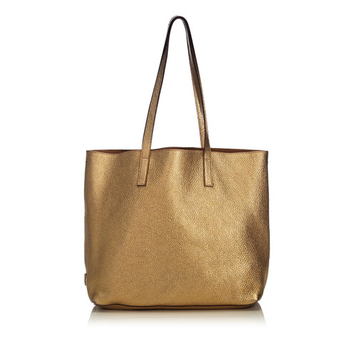d8fdb7605355 Prada Tote bag Leather in Gold - Second Hand Prada Tote bag Leather ...