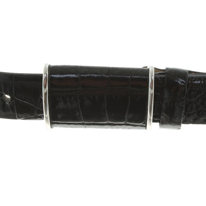 Hugo Boss Leather belt with reptile embossing