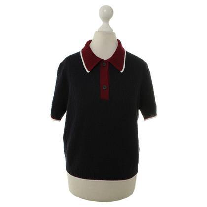 Miu Miu Short-sleeved sweater in dark blue