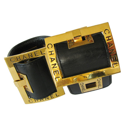 Chanel Two wide Leather Wristbands