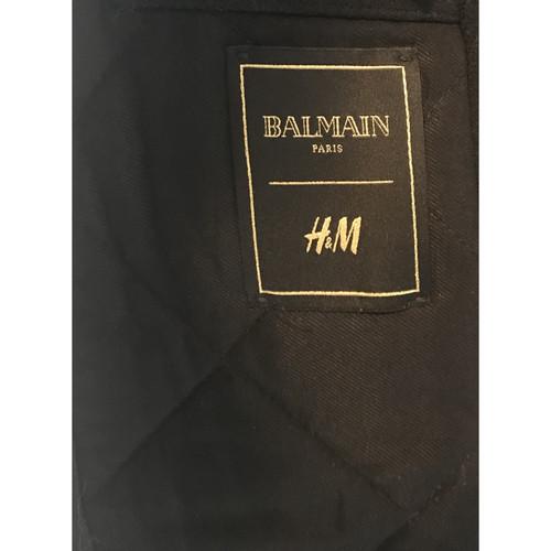 Balmain X H&M JackeMantel aus Wolle in Blau Second Hand